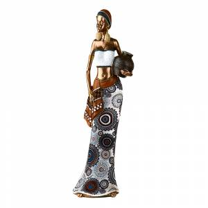 STATUE African Lady Vase On Hip Bronze/Blue/White 39x13.5cm