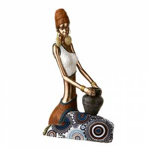 STATUE African Lady Sitting Bronze/Blue/White 23x13.5cm