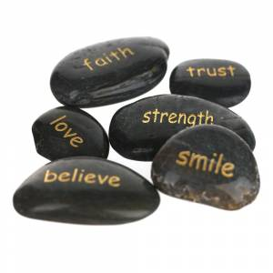 INSPIRATION STONE Word Black 6-8cm Assorted
